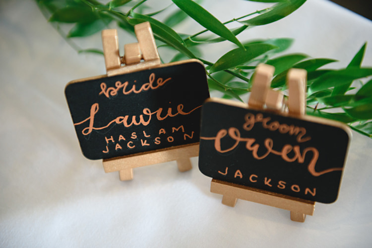 Mini Easel Chalk Black Board Place Names Calligraphy Industrial Rose Gold Dove Grey Greenery Wedding http://hbaphotography.com/