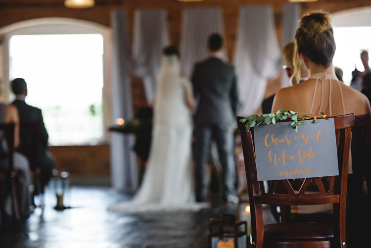 Choose Seat Not Side Sign Calligraphy Industrial Rose Gold Dove Grey Greenery Wedding http://hbaphotography.com/
