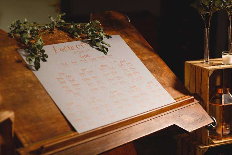 Calligraphy Seating Plan Table Chart Industrial Rose Gold Dove Grey Greenery Wedding http://hbaphotography.com/