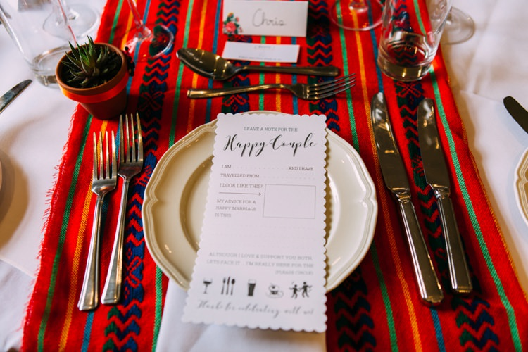 Table Cloths Stationery Place Setting Colourful Mexican Garden Wedding http://jennifersmithphotography.co.uk/