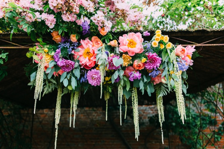 Flower Arch Backdrop Peony Rose Peach Yellow Colourful Mexican Garden Wedding http://jennifersmithphotography.co.uk/
