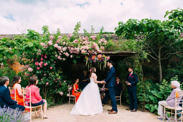 Walled Gardens Cowdray Ceremony UK Outdoor Colourful Mexican Garden Wedding http://jennifersmithphotography.co.uk/