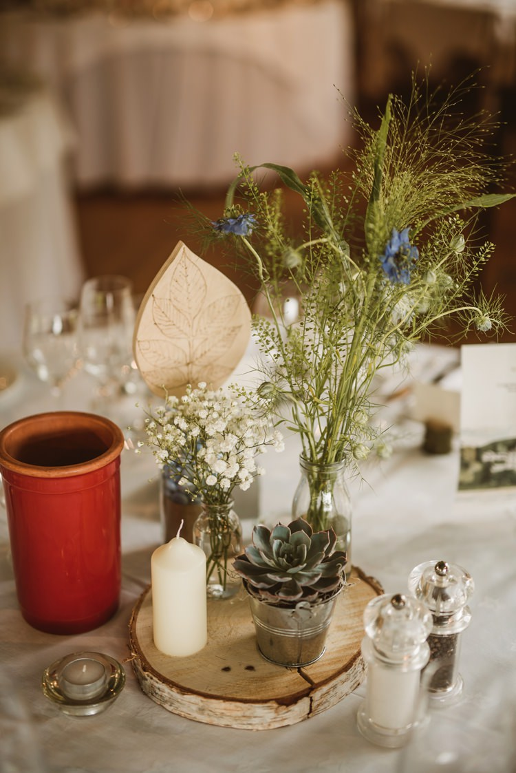 Flowers Bottles Log Centrepiece Decor Table Succulent Homely Ethereal Intimate Country House Wedding https://www.photosligo.com/