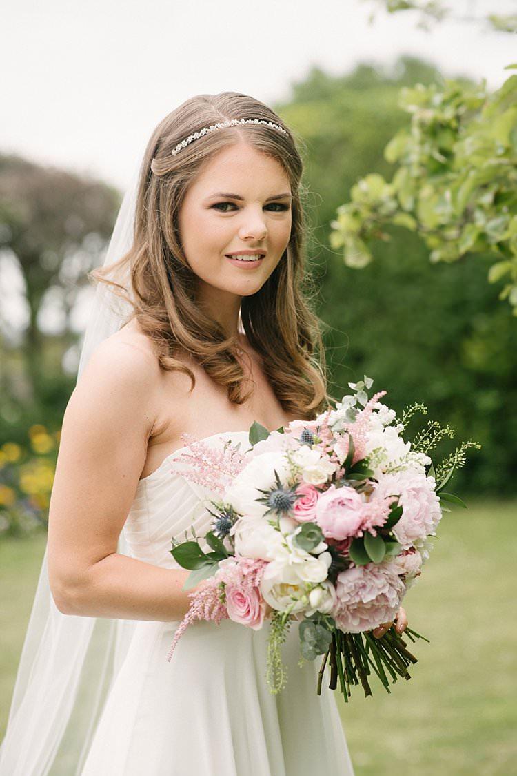 Bride Bridal Hairpiece Headpiece Cathedral Veil Davids Bridal Blush Pink Peony Rose Thistle Stocks Crafty Pretty Pastel Budget Wedding http://lilysawyer.com/