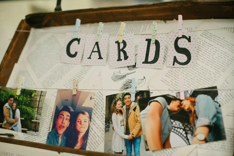 Cards Table Suitcase Peg line Photographs Crafty Pretty Pastel Budget Wedding http://lilysawyer.com/