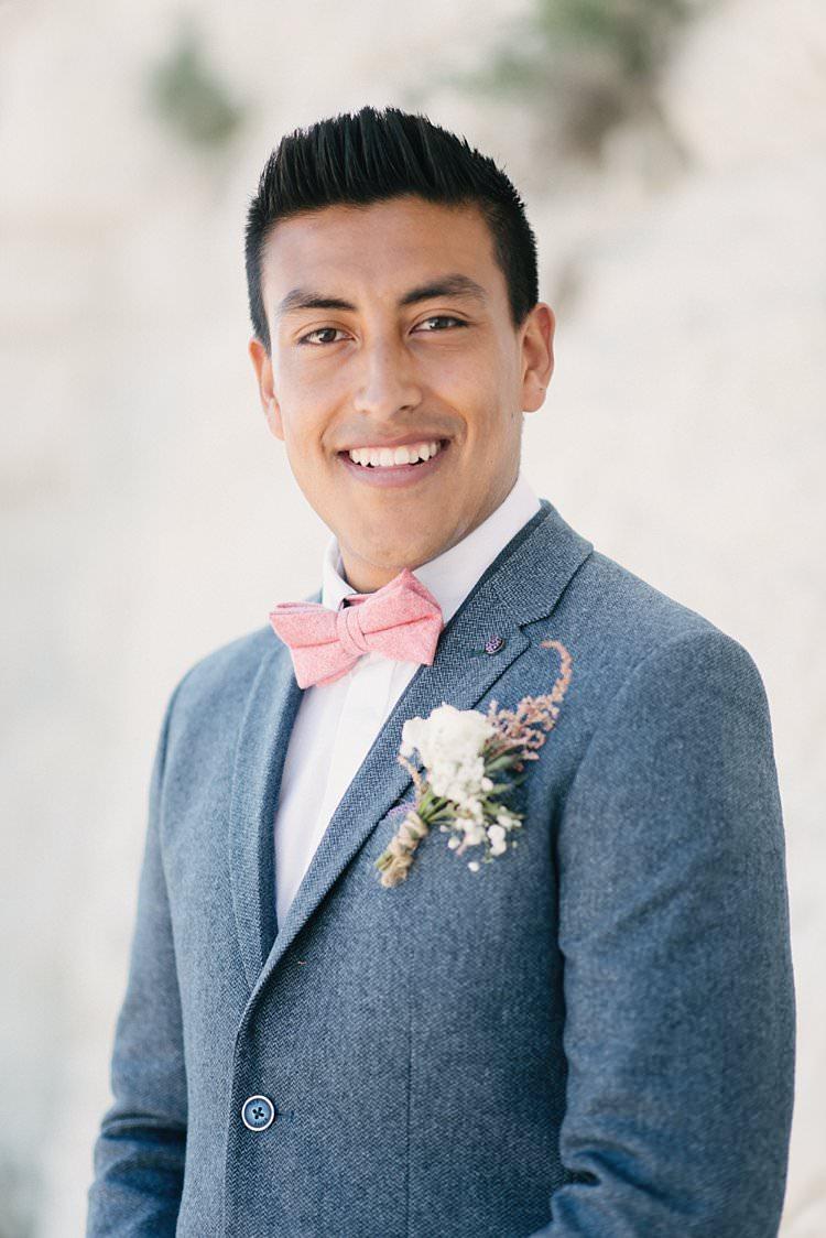 Groom Wool Jacket Pink Bow Tie Ted Baker Zara Crafty Pretty Pastel Budget Wedding http://lilysawyer.com/