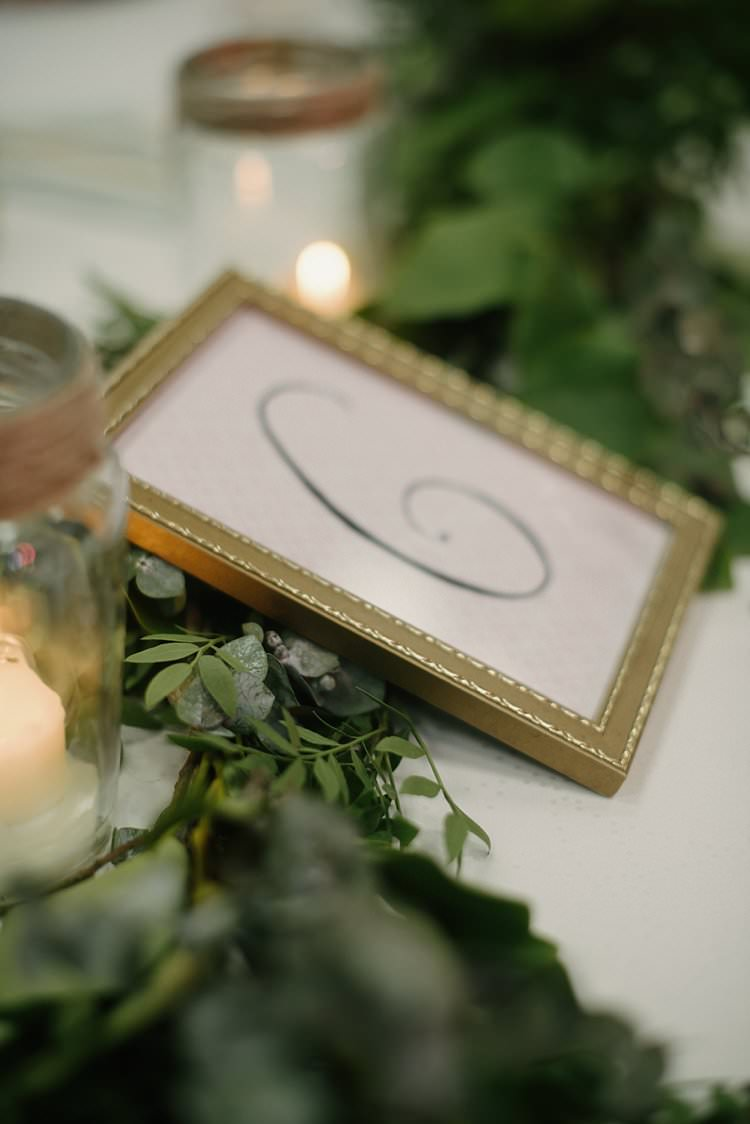 Table Number Gold Frame Greenery Garland Foliage Jam Jar Candle Twine Crafty Pretty Pastel Budget Wedding http://lilysawyer.com/
