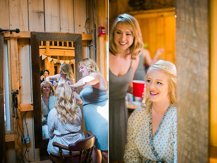 Bride Getting Ready Curls Mirror Dressing Gown Robe Whimsical Woods Wedding Barn Ohio http://www.connectionphotoblog.com/