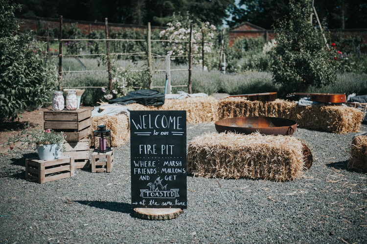 Fire Pit Hay Bales Decor Seating Herbs Flowers Home Made Walled Garden Wedding https://www.rosiekelly.co.uk/