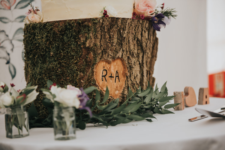 Log Cake Stand Personalised Herbs Flowers Home Made Walled Garden Wedding https://www.rosiekelly.co.uk/