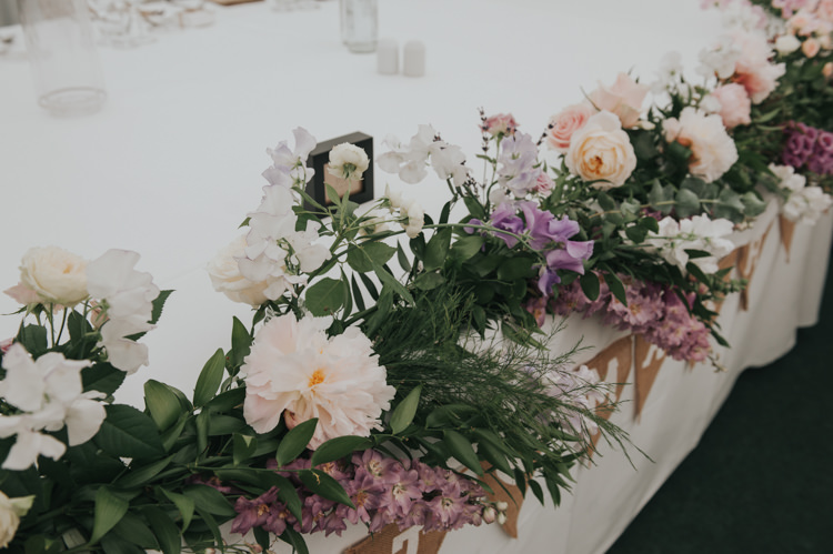 Top Table Garland Swag Peony Rose Herbs Flowers Home Made Walled Garden Wedding https://www.rosiekelly.co.uk/