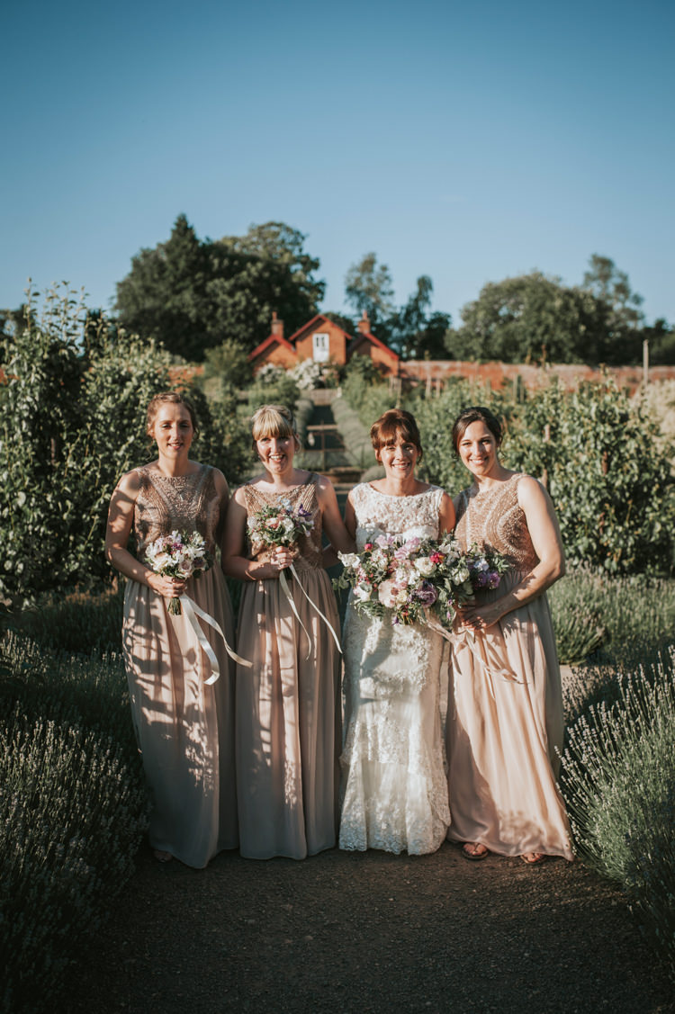 Nude Long Maxi Bridesmaid Dresses Herbs Flowers Home Made Walled Garden Wedding https://www.rosiekelly.co.uk/