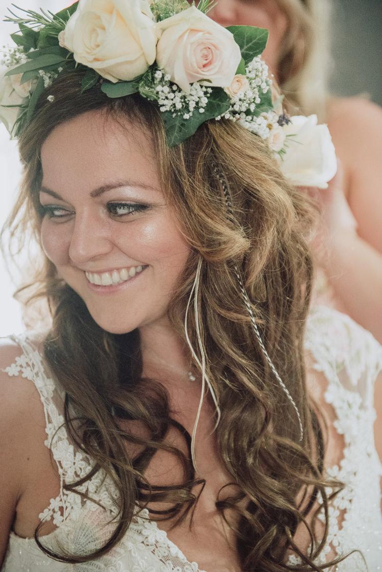 Rose Flower Crown Bride Bridal Hair Plaits Braids Enchanting Ancient Forest Wedding http://donnamurrayphotography.com/