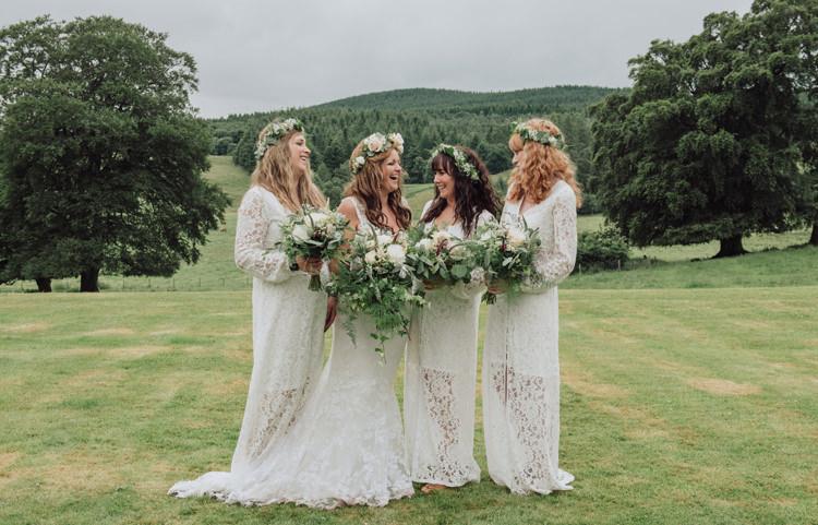 Long White Crochet Bridesmaid Dresses Enchanting Ancient Forest Wedding http://donnamurrayphotography.com/
