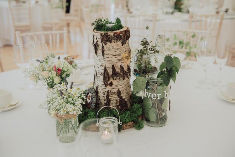 Centrepiece Table Decor Log Moss Jar Flowers Enchanting Ancient Forest Wedding http://donnamurrayphotography.com/