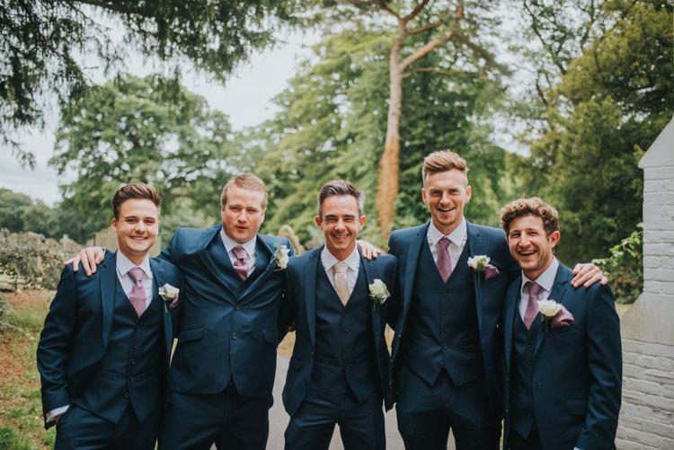 Groom Groomsmen Ushers Best Man Navy Three Piece Waistcoat Pink Tie Chic Romantic Florals Candlelight Wedding http://lisawebbphotography.co.uk/