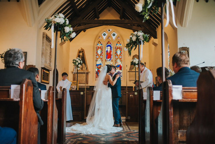Bride Bridal Pronovias Strapless Sweetheart Fishtail Train Veil Navy Suit Groom Chic Romantic Florals Candlelight Wedding http://lisawebbphotography.co.uk/