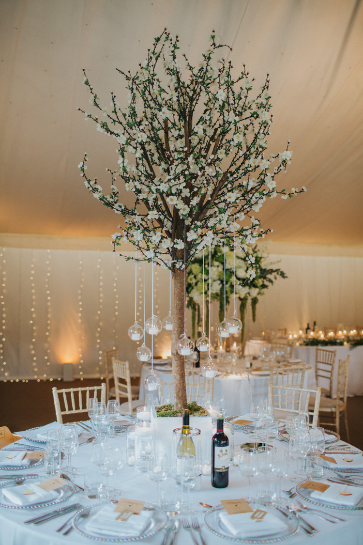 Blossom Tree Hanging Candles Pea Lights Fairy Tall Centrepiece Arrangement Tealight Chic Romantic Florals Candlelight Wedding http://lisawebbphotography.co.uk/