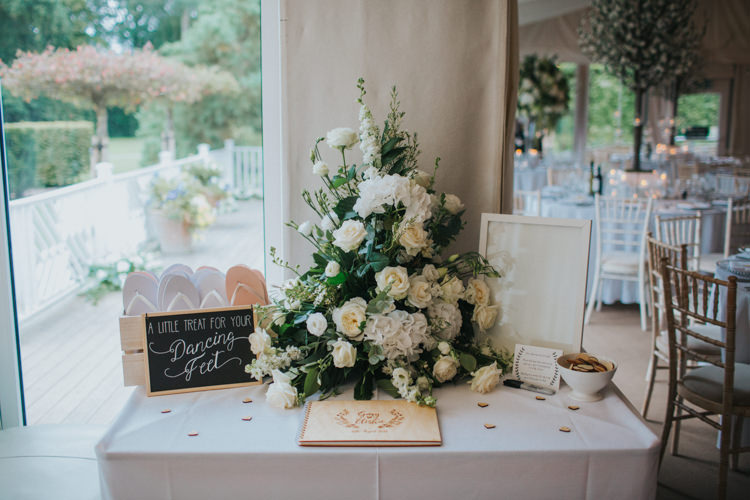 Guest Book Cards Table White Rose Greenery Flip Flops Dancing Feet Chic Romantic Florals Candlelight Wedding http://lisawebbphotography.co.uk/