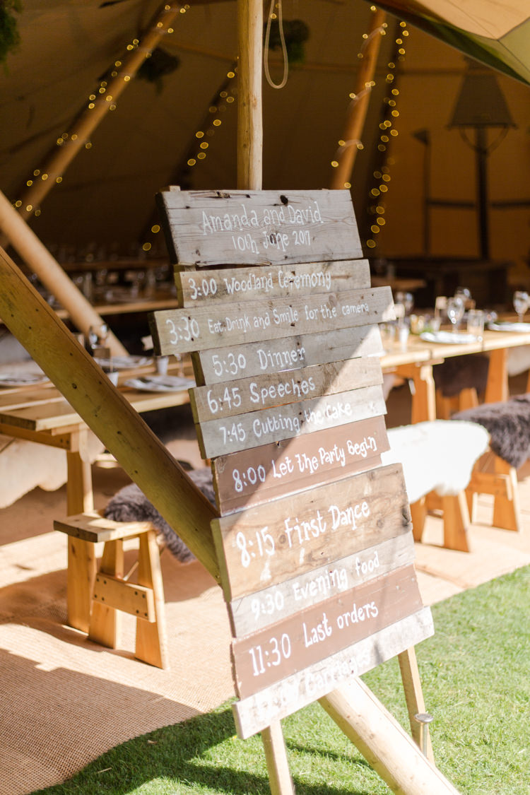 Order Of Day Wood DIY Sign Signage Board Natural Outdoor Tipi Wedding https://www.ad-photography.co.uk/