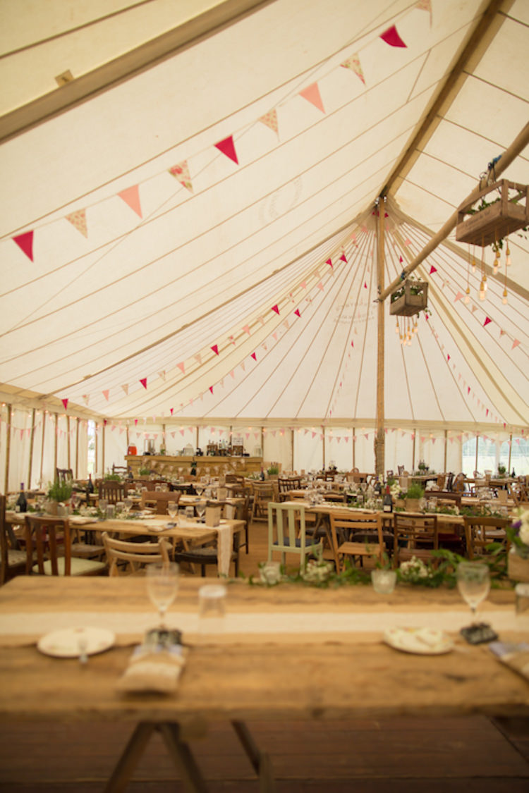 Traditional Pole Tent Marquee Bunting Wooden Mismatched Furniture Crate Lighting Quirky Rustic Farm Wedding https://ragdollphotography.co.uk/