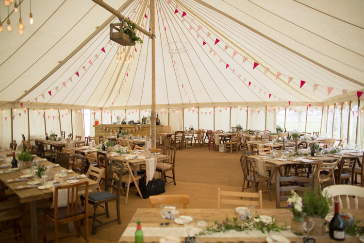 Traditional Pole Tent Marquee Bunting Wooden Mismatched Chairs Crate Lighting Edison Light Bulb Quirky Rustic Farm Wedding https://ragdollphotography.co.uk/