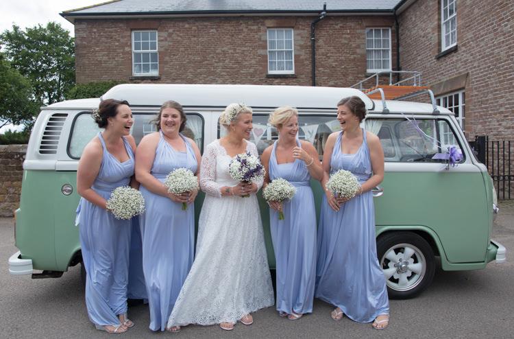 Bride Bridal Charlotte Balbier Debenhams Bridesmaids Cornflower Baby Blue Multiway Dress Gown Flip Flops VW Camper Van Quirky Rustic Farm Wedding https://ragdollphotography.co.uk/