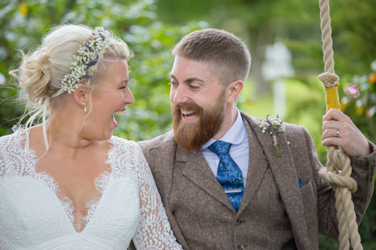 Bride Bridal Dress Gown Charlotte Balbier Long Sleeve V Neck Tweed Three Piece Groom Waistcoat Mismatched Pocket Square Hair Florals Flower Crown Quirky Rustic Farm Wedding https://ragdollphotography.co.uk/