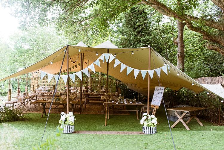 Festoon Lights Bunting Laid Back Summer Garden Party Wedding Stretch Tent http://joemallenphotography.co.uk/