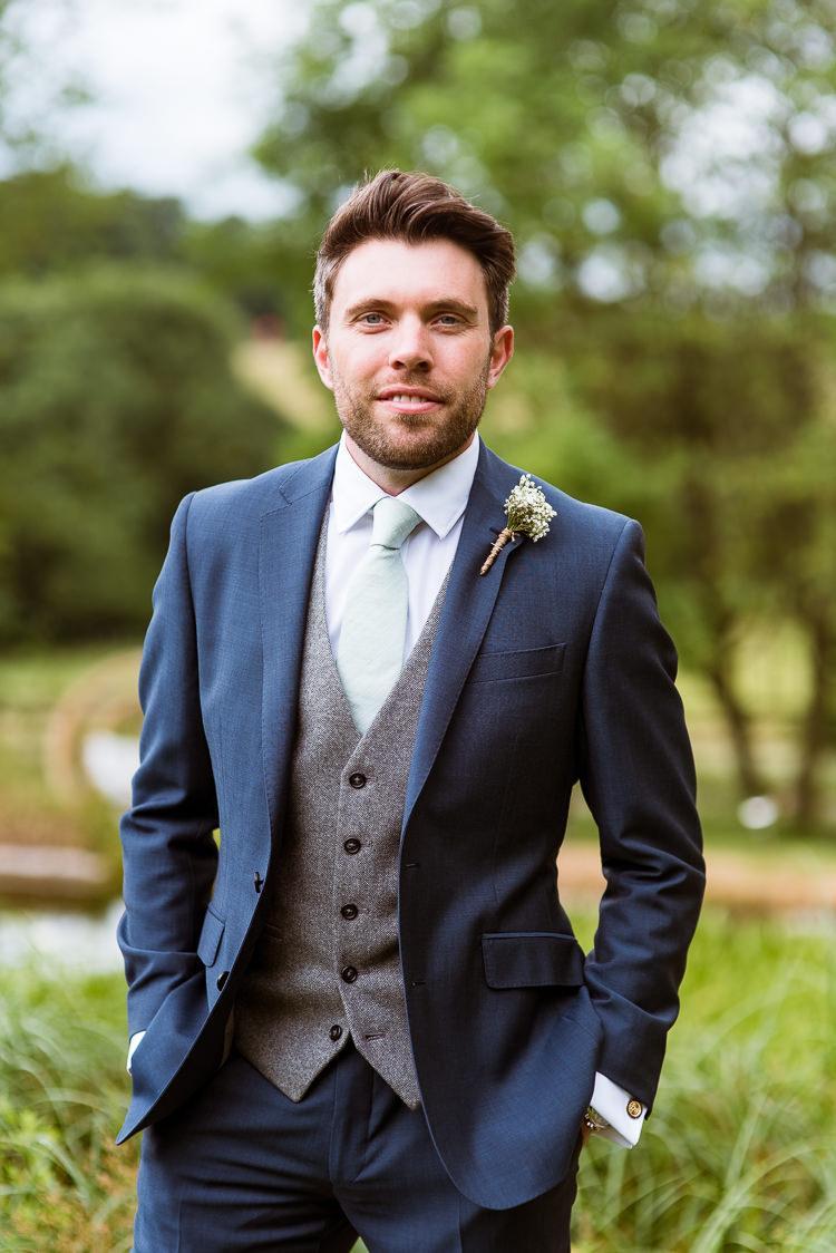 Navy Suit Grey Waistcoat Groom Laid Back Summer Garden Party Wedding Stretch Tent http://joemallenphotography.co.uk/