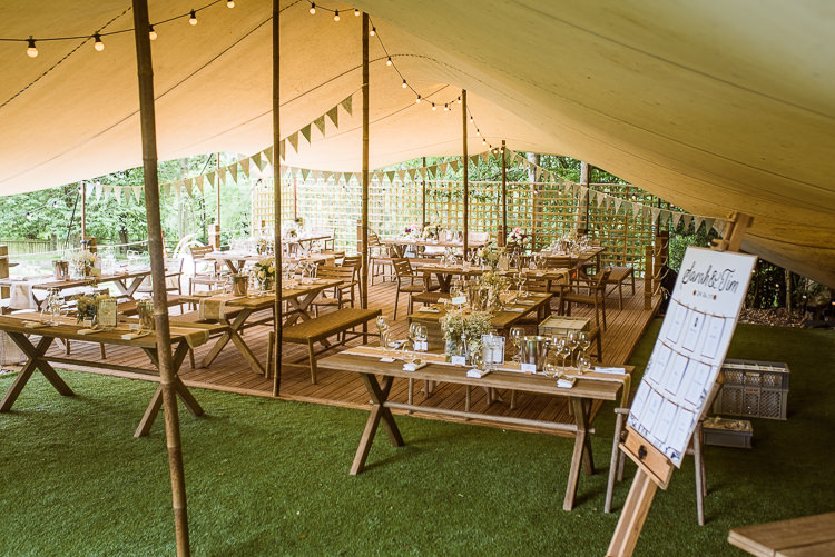 Rustic Festoon Lights Bunting Laid Back Summer Garden Party Wedding Stretch Tent http://joemallenphotography.co.uk/
