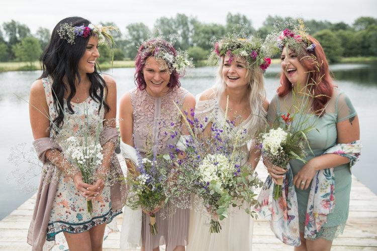 Mismatched Bridesmaids Flowers Crowns Boho Festival Tipi Wedding http://alexaclarkekent.com/