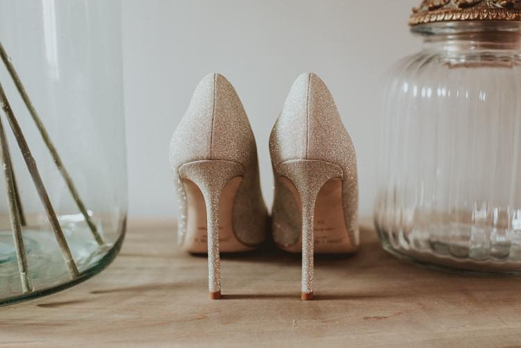 Glitter Jimmy Choo Heels Shoes Bride Bridal Rustic Greenery White Apple Orchard Wedding http://bigbouquet.co.uk/