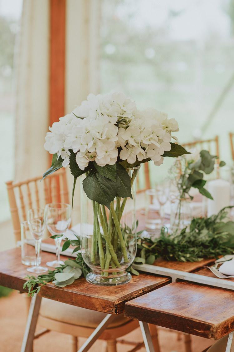 White Hydrangeas Flowers Decor Vase Table Rustic Greenery White Apple Orchard Wedding http://bigbouquet.co.uk/