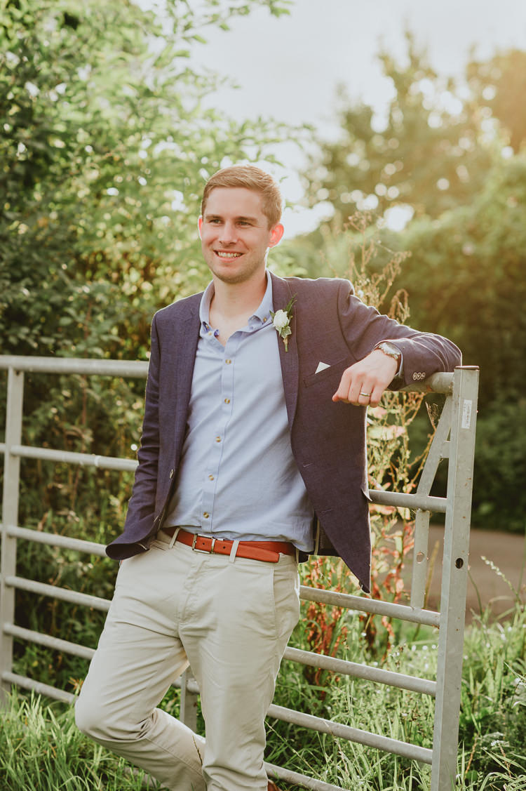 Groom Casual Jacket Chinos Rustic Greenery White Apple Orchard Wedding http://bigbouquet.co.uk/
