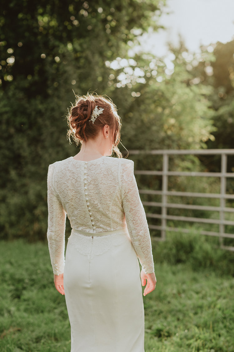 Lace Top Sleeves Bride Bridal Dress Gown Skirt Sassi Holford Belt Buttons Rustic Greenery White Apple Orchard Wedding http://bigbouquet.co.uk/