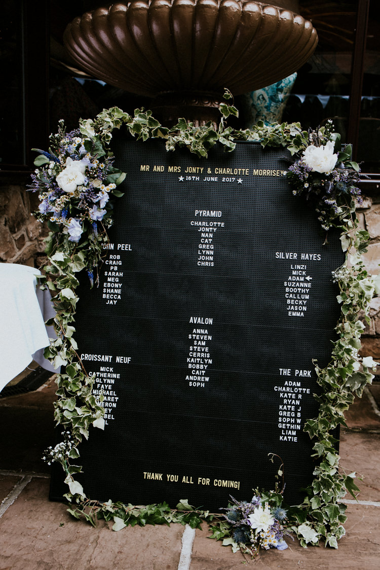 Peg Board Seating Plan Table Chart Flowers Greenery Garland Unique Personal Natural Wedding Style https://photo.shuttergoclick.com/
