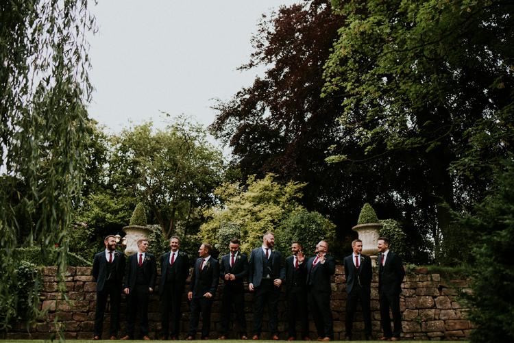 Groom Groomsmen Navy Suite Red Ties Unique Personal Natural Wedding Style https://photo.shuttergoclick.com/