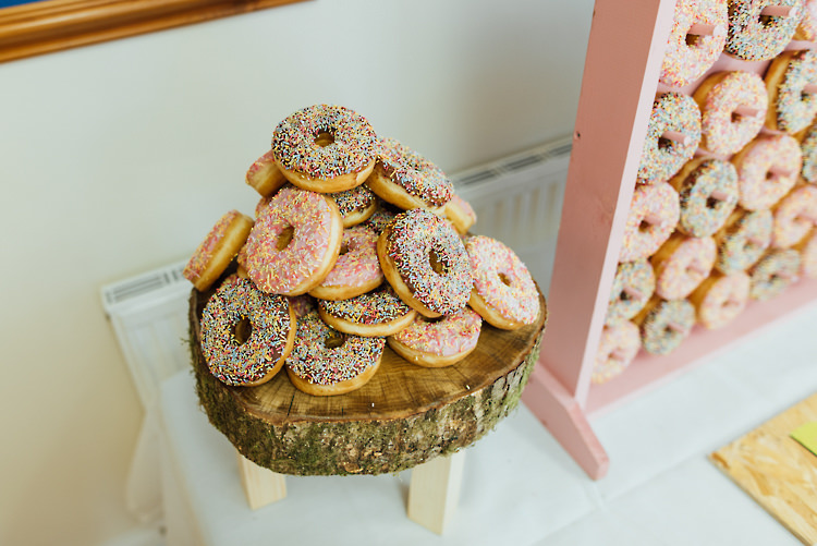 Donuts Alternative Colourful Outdoor Humanist Village Hall Wedding http://www.chebirchhayesphotography.com/