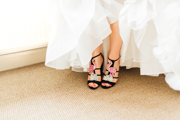 Flamingo Shoes Bride Bridal Alternative Colourful Outdoor Humanist Village Hall Wedding http://www.chebirchhayesphotography.com/