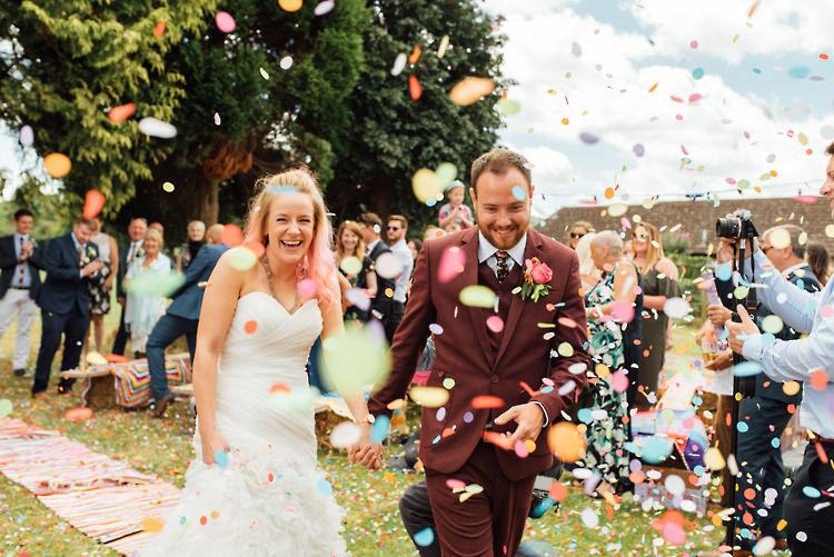 Confetti Throw Alternative Colourful Outdoor Humanist Village Hall Wedding http://www.chebirchhayesphotography.com/
