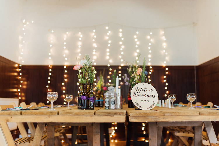 Fairy Light Curtain Flowers Wooden Tables Alternative Colourful Outdoor Humanist Village Hall Wedding http://www.chebirchhayesphotography.com/