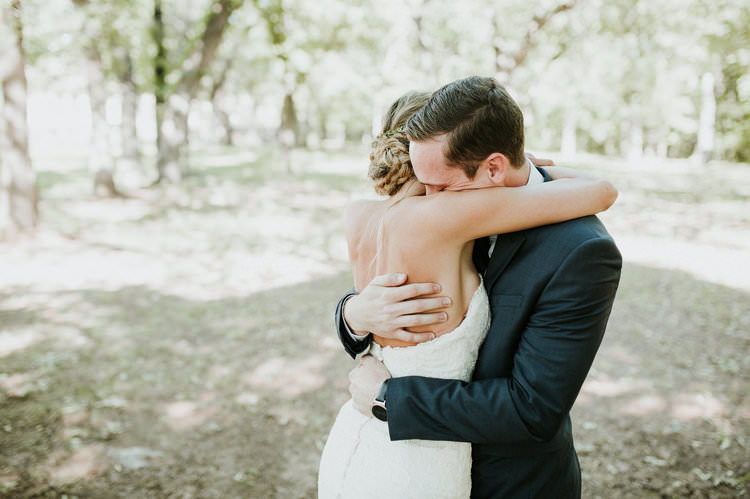 Outdoor Rustic Boho Forest First Look Bride Groom Morning Embrace | Organic Earthy Fun Wedding Oklahoma http://zaynewilliams.com/