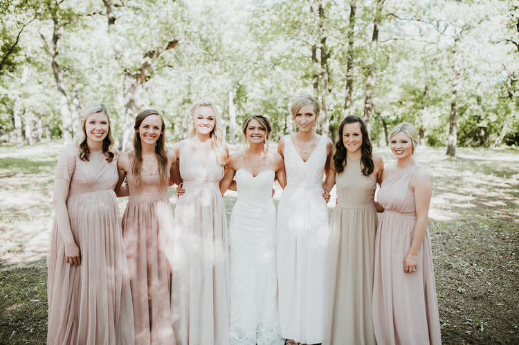 Outdoor Rustic Boho Forest Sweetheart Bride Blush Bridesmaids Tribe | Organic Earthy Fun Wedding Oklahoma http://zaynewilliams.com/