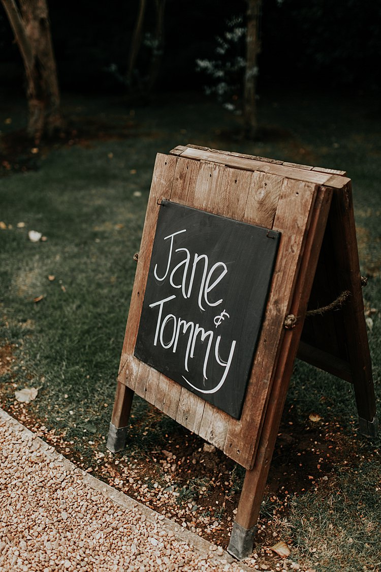 Rustic Wooden Sign Board Chalk Beautiful Simple Relaxed Barn Wedding http://jenmarino.com/