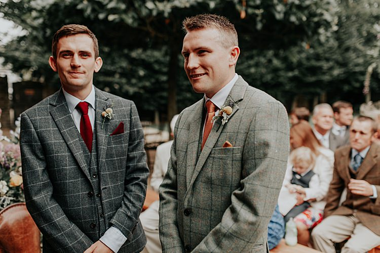 Check Suits Groom Best Man Orange Tie Beautiful Simple Relaxed Barn Wedding http://jenmarino.com/