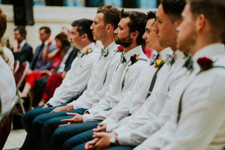 Bow Ties Braces Groomsmen Colourful Cool Humanist Pool Wedding http://www.stevebridgwoodphotography.co.uk/