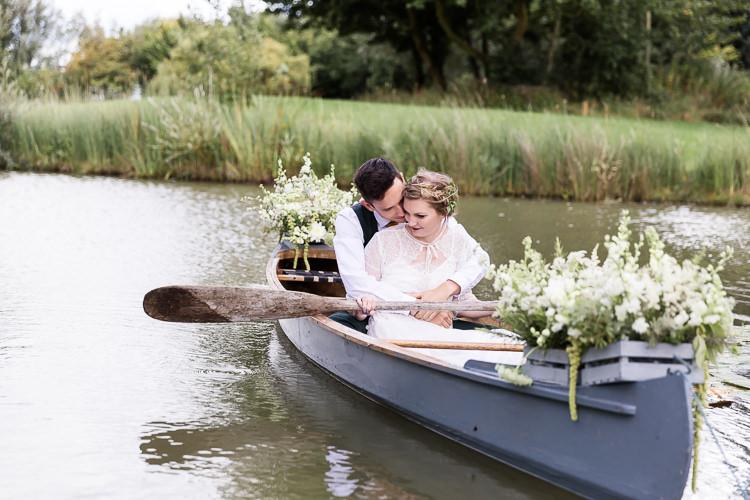 Rowing Boat Lake Bride Groom Flowers Crates Organic Rustic Greenery Wedding Ideas http://sarahbrookesphotography.com/