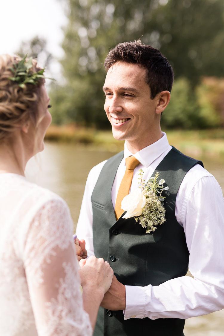 Groom Style Waistcoat Yellow Tie Organic Rustic Greenery Wedding Ideas http://sarahbrookesphotography.com/