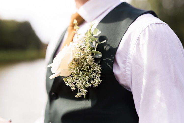 White Flower Buttonhole Groom Organic Rustic Greenery Wedding Ideas http://sarahbrookesphotography.com/